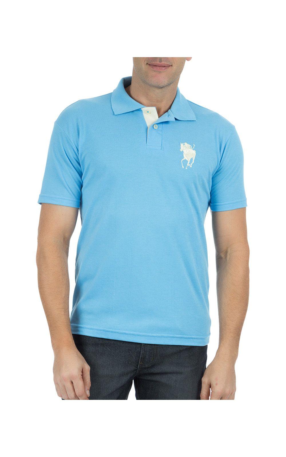 Foto 1 - Camisa Polo Masculina Azul Claro Bordada