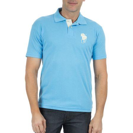 Camisa Polo Masculina Azul Claro Bordada