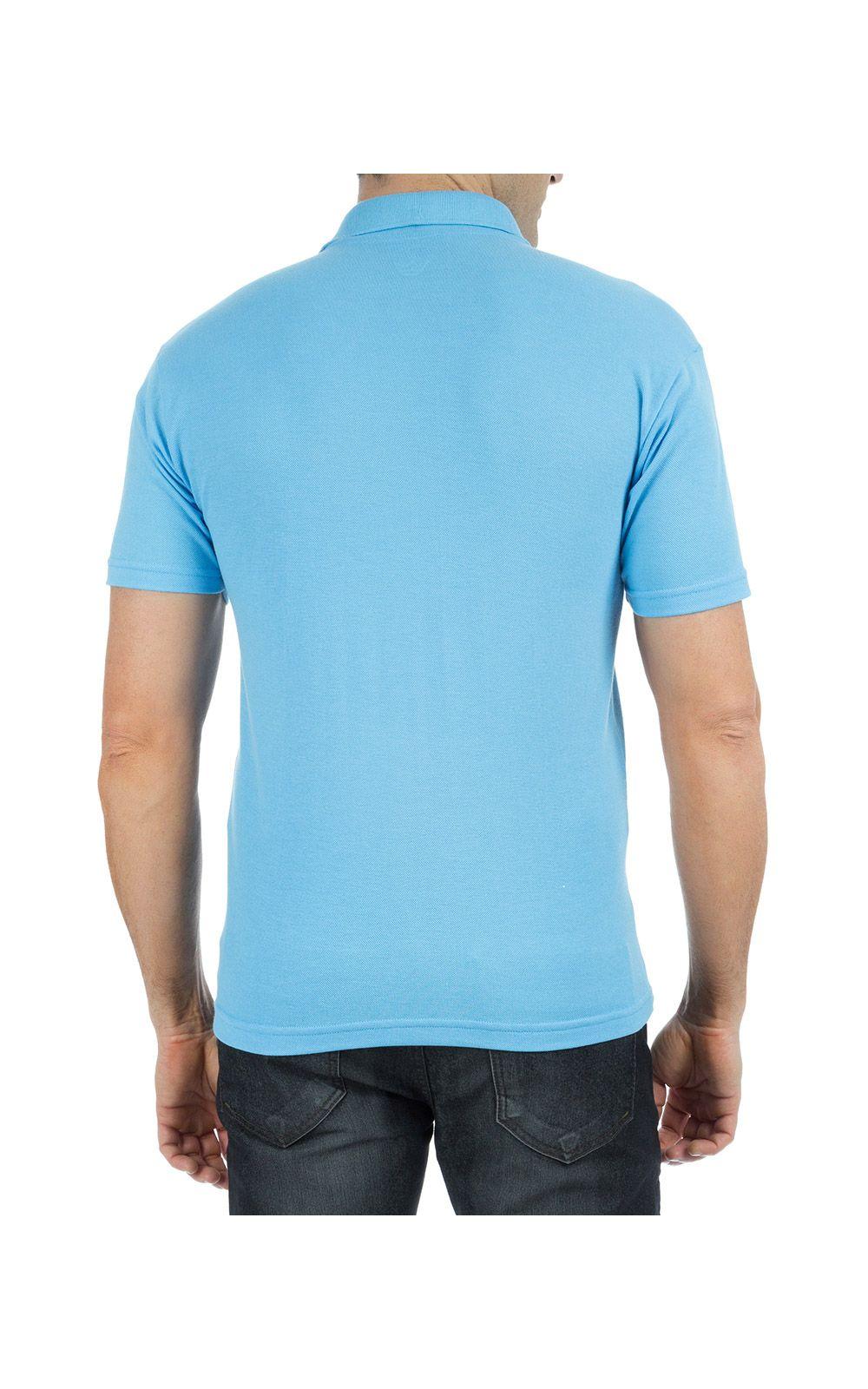 Foto 2 - Camisa Polo Masculina Azul Claro Bordada