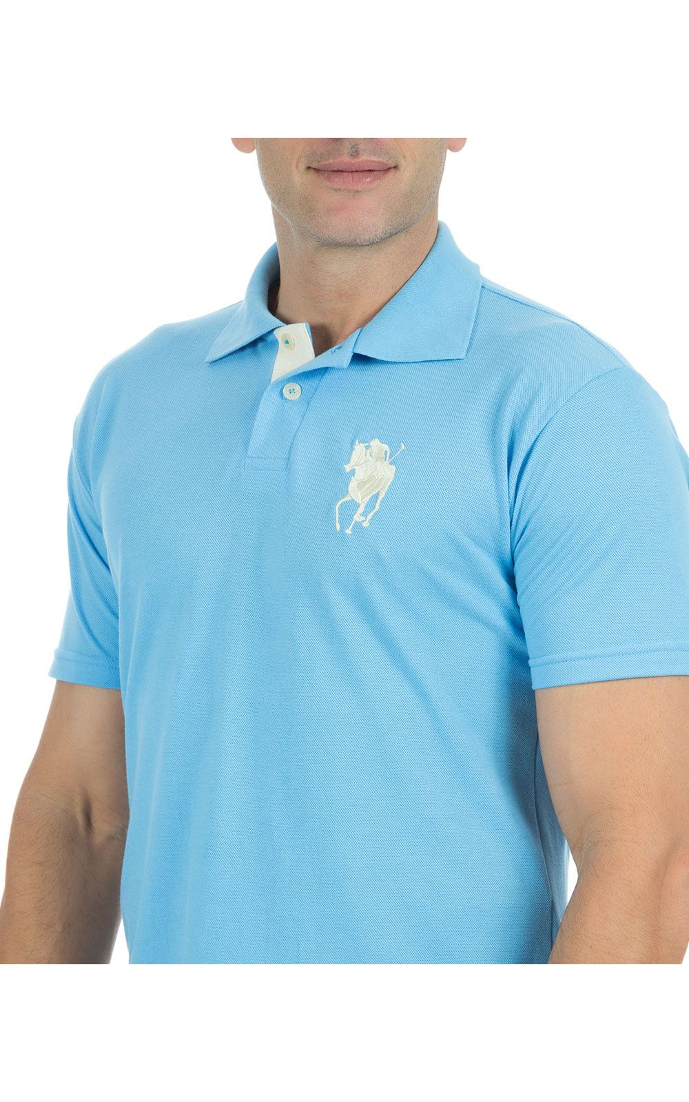 Foto 3 - Camisa Polo Masculina Azul Claro Bordada