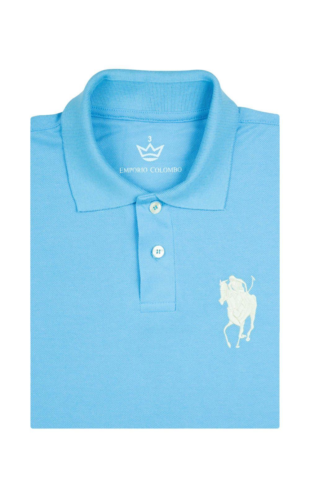 Foto 4 - Camisa Polo Masculina Azul Claro Bordada