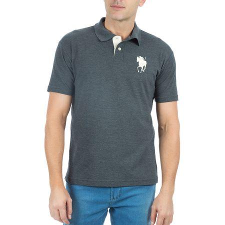 Camisa Polo Masculina Bordada Cinza