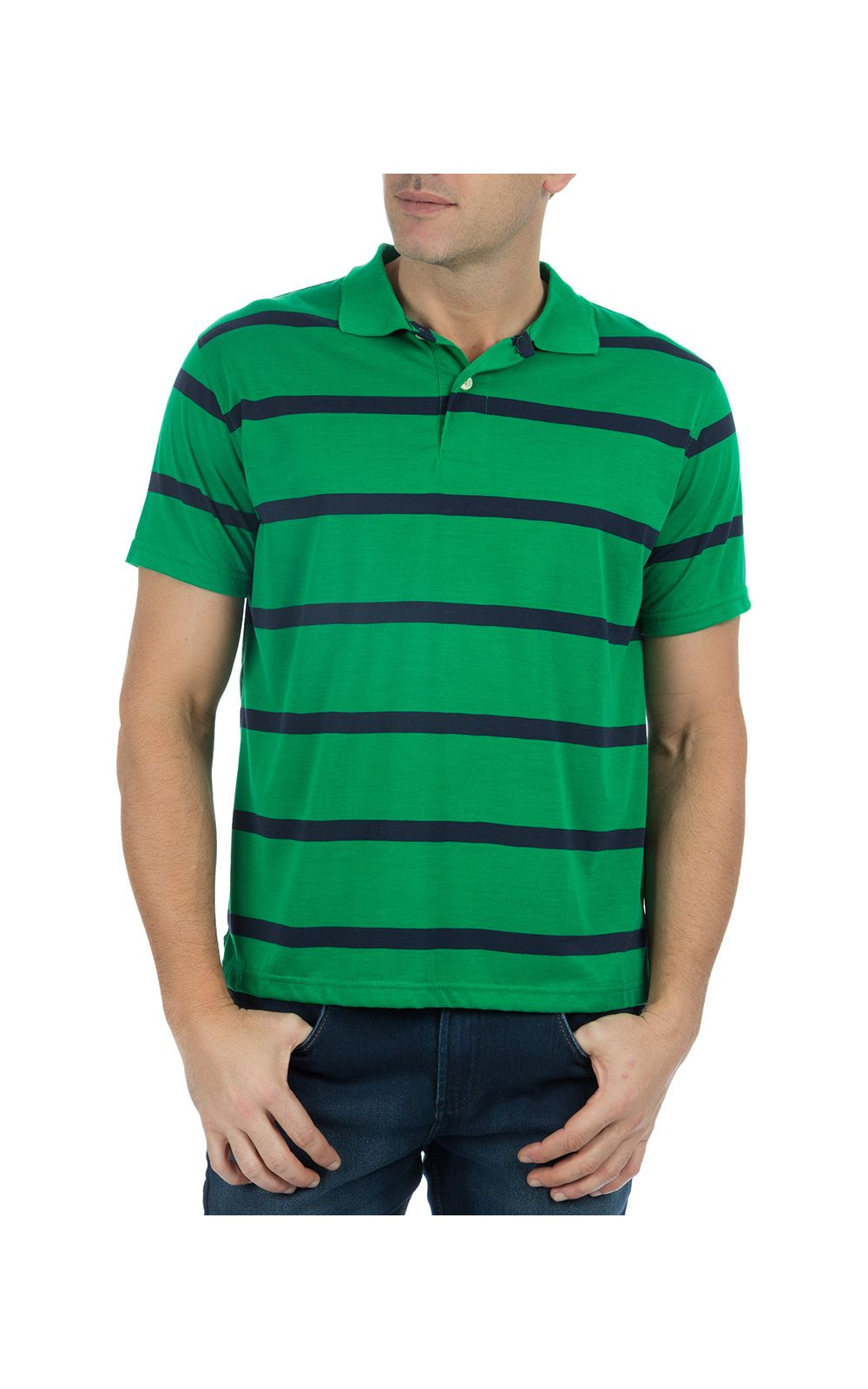 Foto 1 - Camisa Polo Masculina Verde Listrada