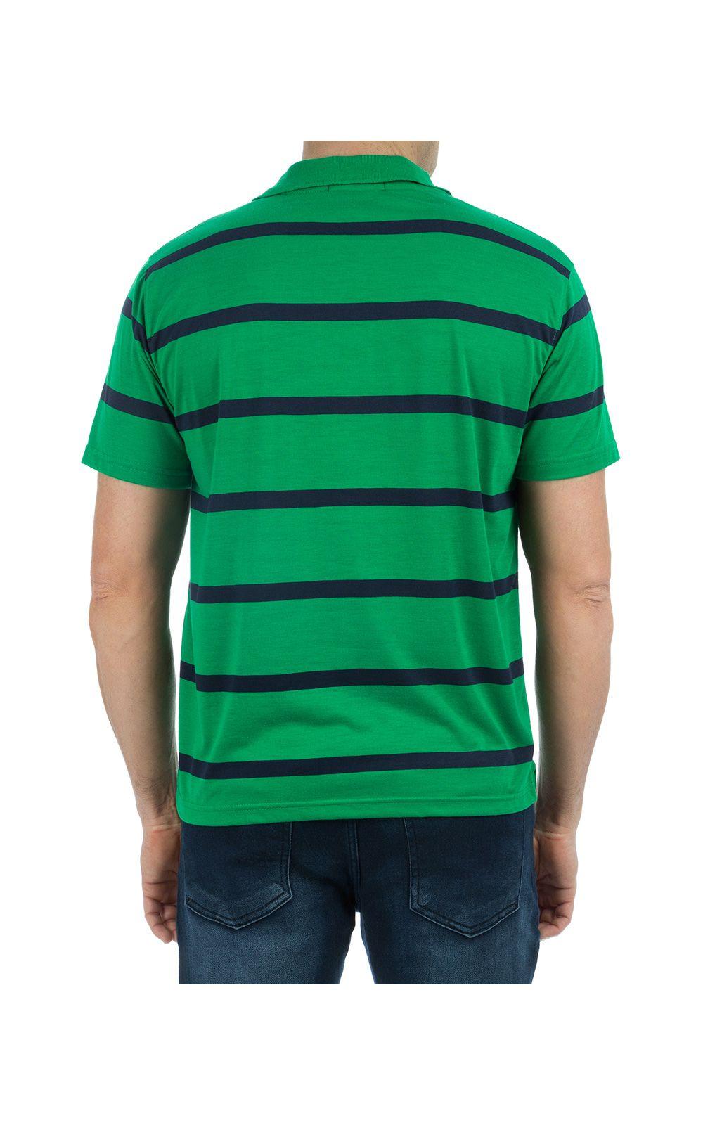 Foto 2 - Camisa Polo Masculina Verde Listrada