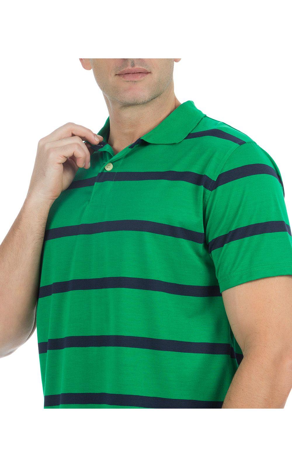 Foto 3 - Camisa Polo Masculina Verde Listrada