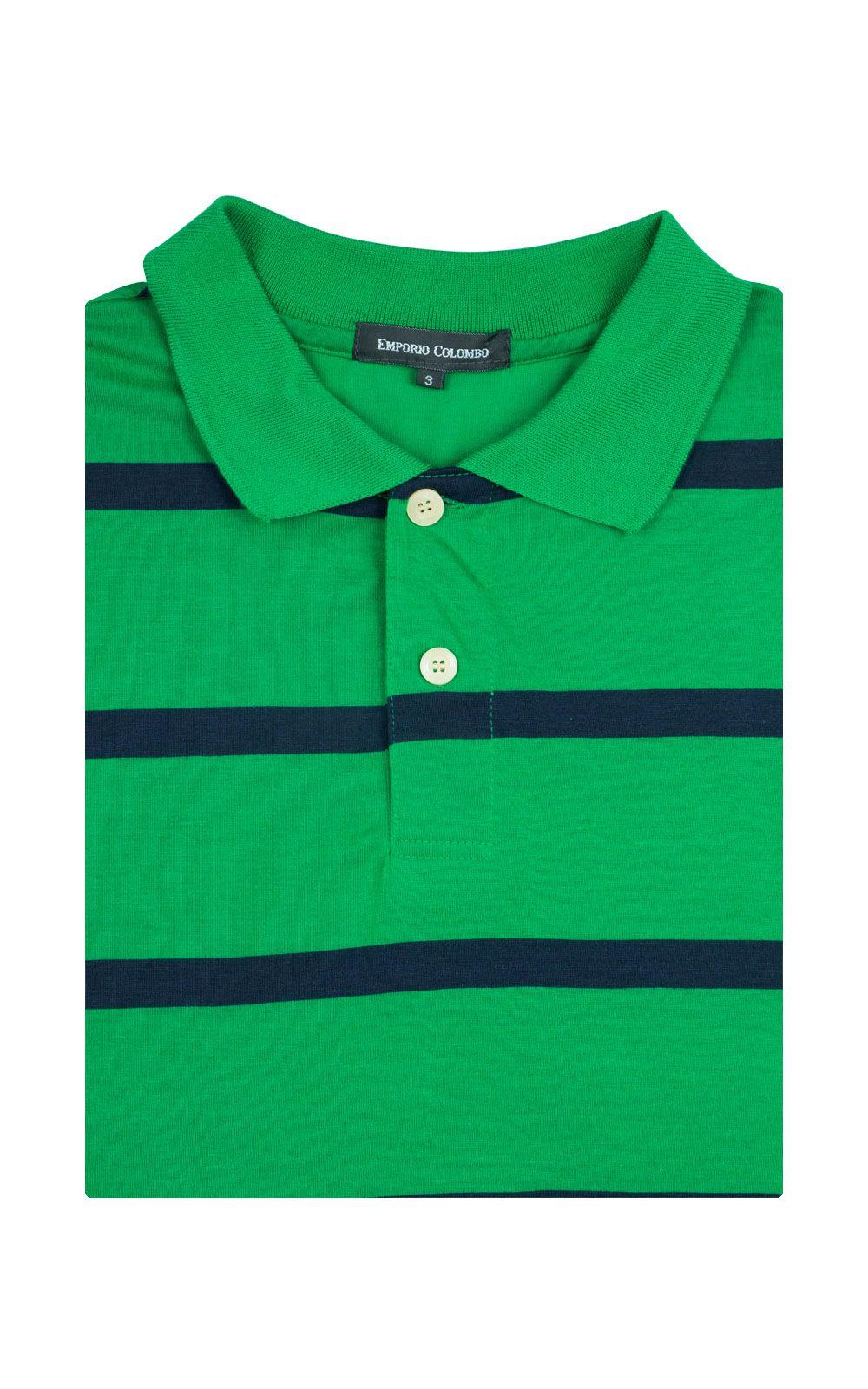 Foto 4 - Camisa Polo Masculina Verde Listrada