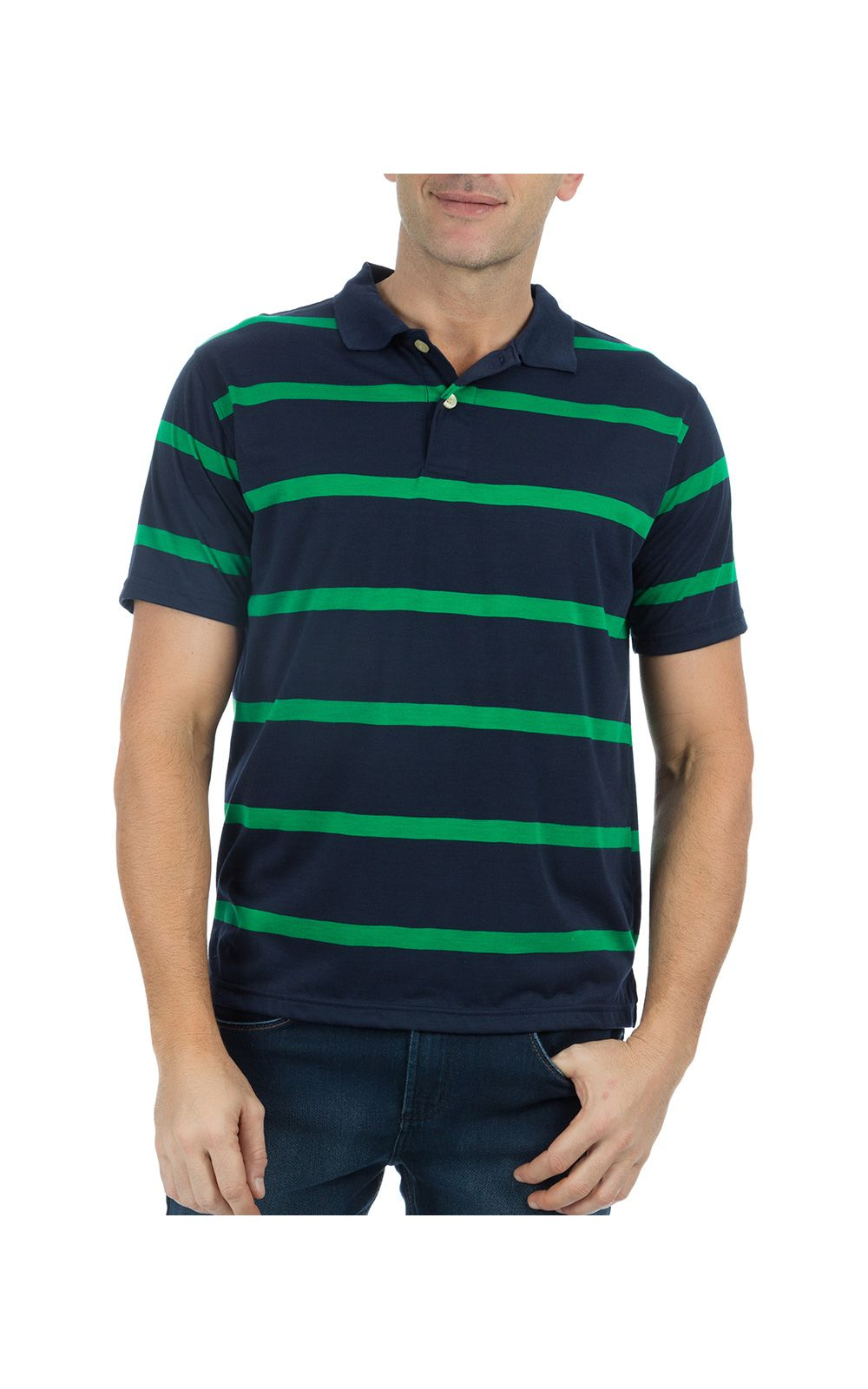 Foto 1 - Camisa Polo Masculina Azul Marinho Listrada
