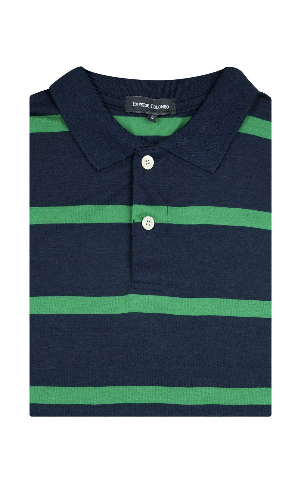 Foto 4 - Camisa Polo Masculina Azul Marinho Listrada