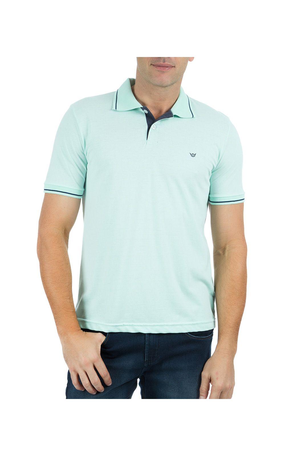 Foto 1 - Camisa Polo Masculina Verde Detalhada