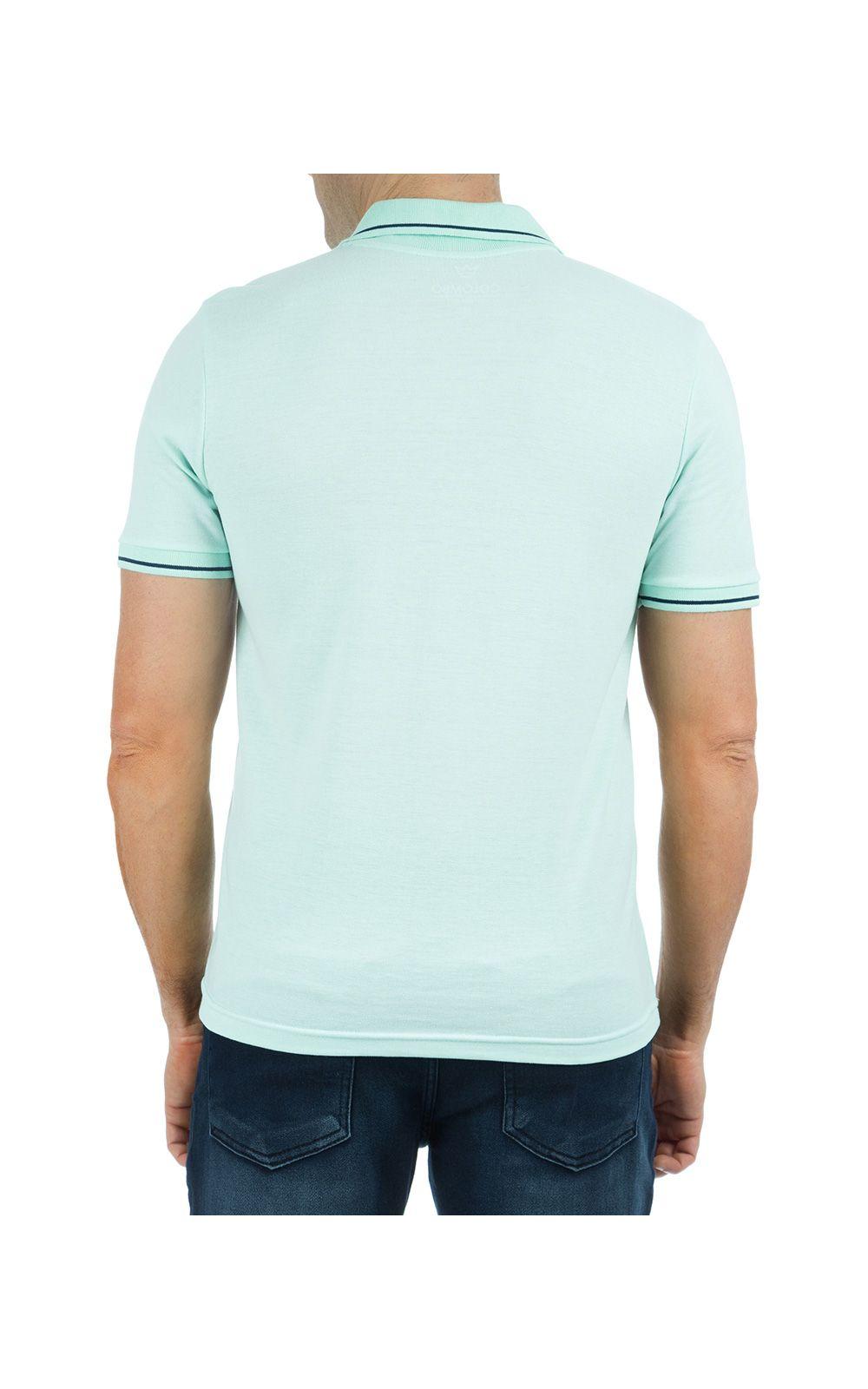 Foto 2 - Camisa Polo Masculina Verde Detalhada