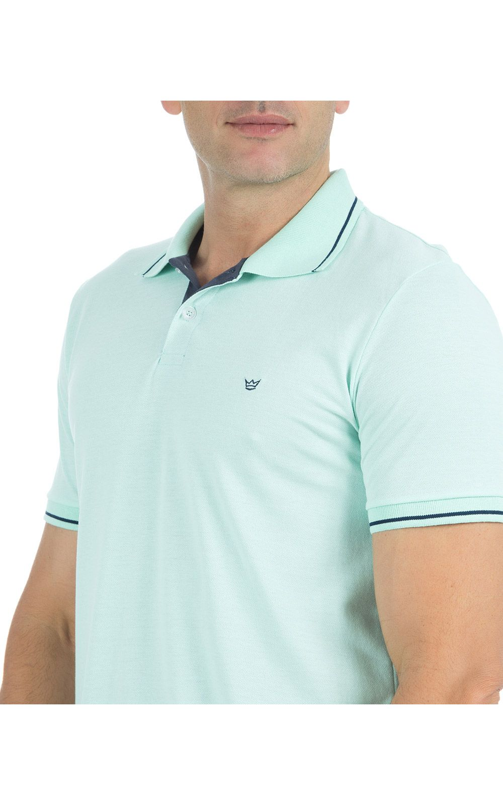 Foto 3 - Camisa Polo Masculina Verde Detalhada