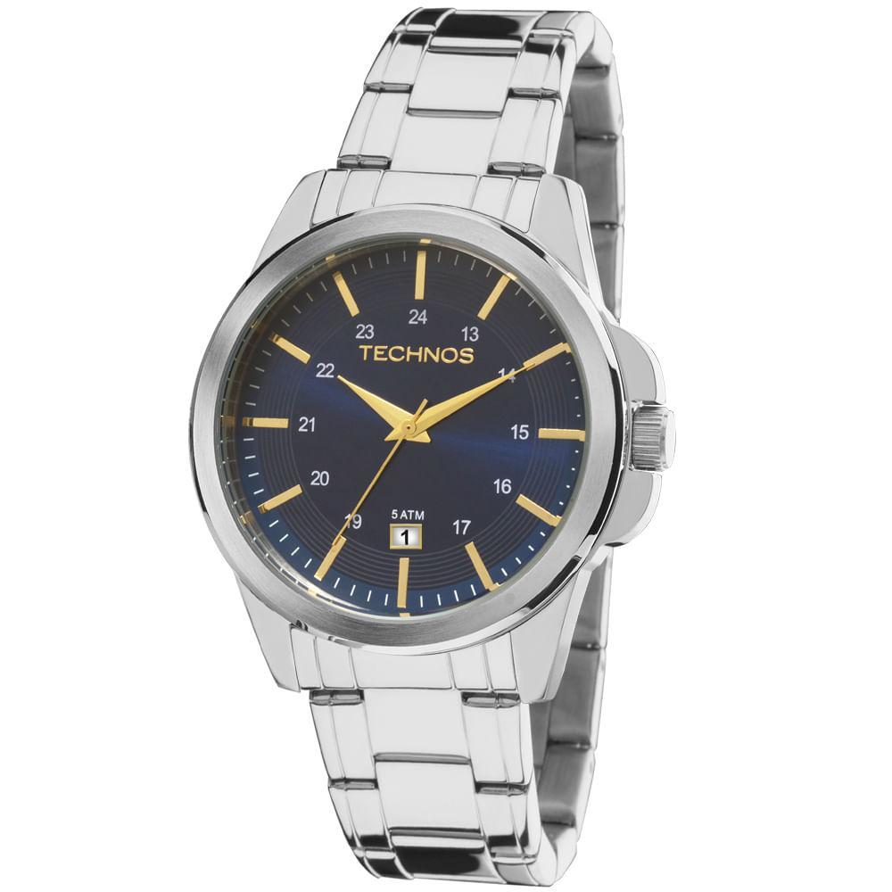 Relógio Technos Masculino Steel Prata - 2115MKY 1A - Camisaria Colombo 10c3c80a84