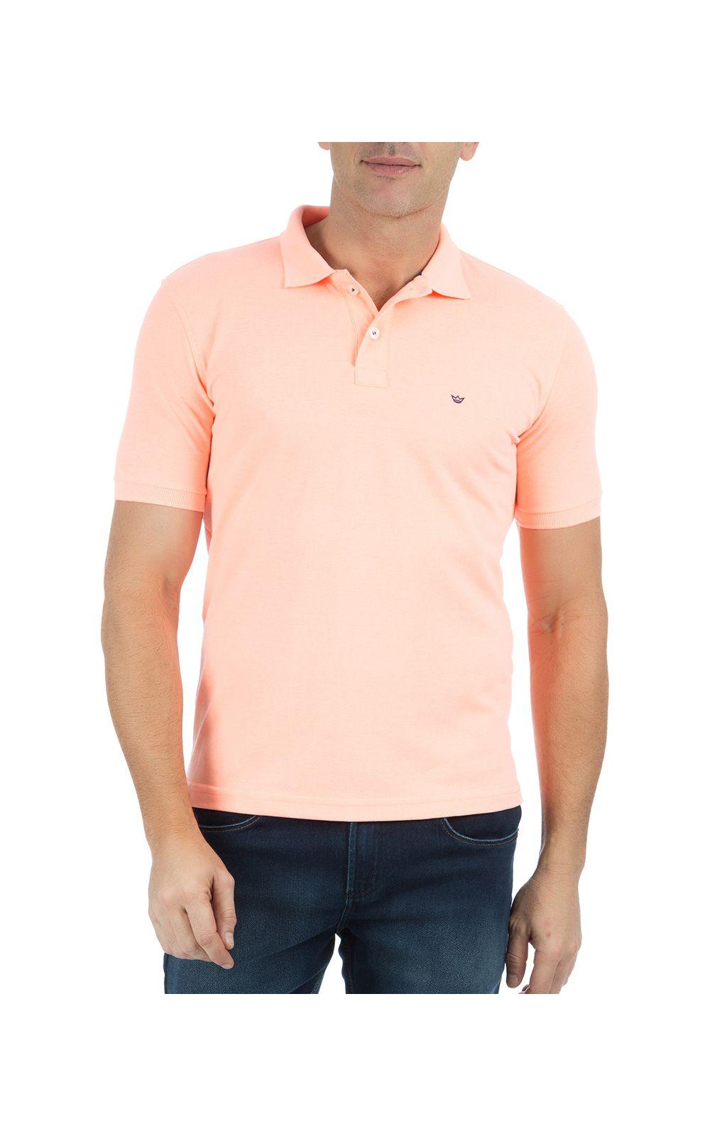 Foto 1 - Camisa Polo Masculina Laranja Lisa