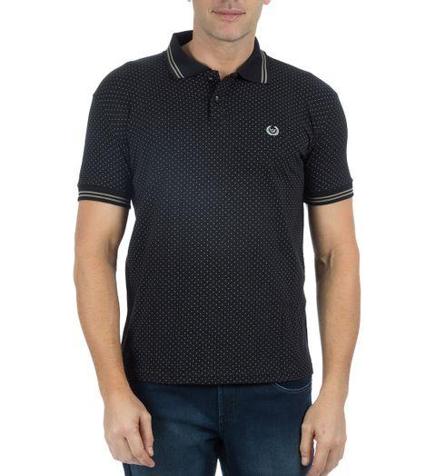 Camisa-Polo-Masculina-Estampada-Preta-