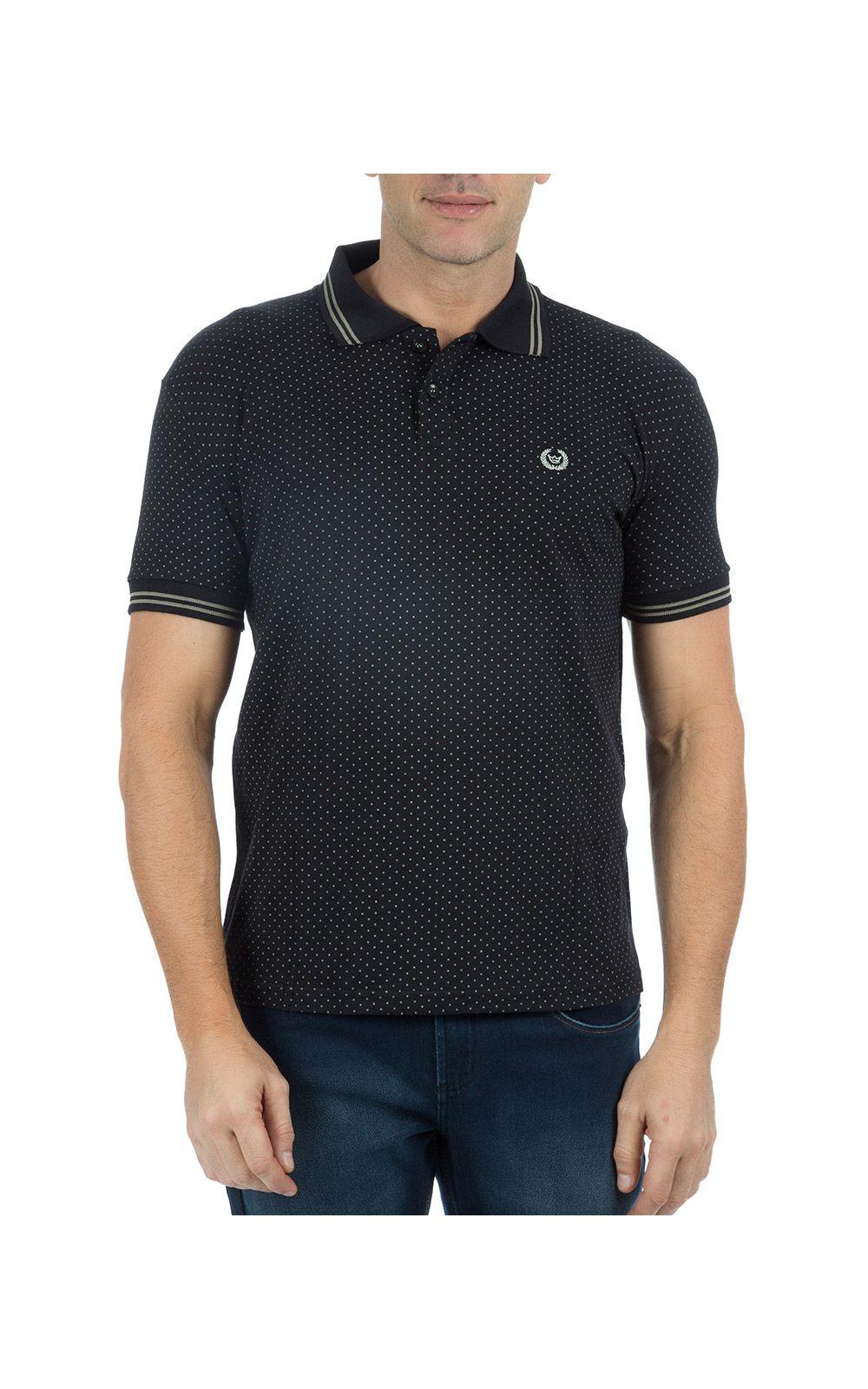 Foto 1 - Camisa Polo Masculina Preta Estampada