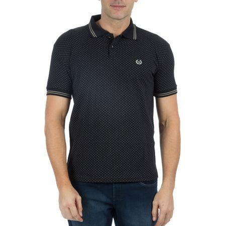 Camisa Polo Masculina Preta Estampada