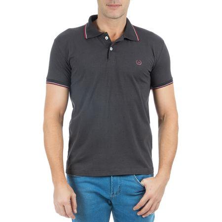 Camisa Polo Masculina Cinza Escuro Estampada
