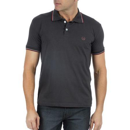 Camisa Polo Masculina Cinza Estampada