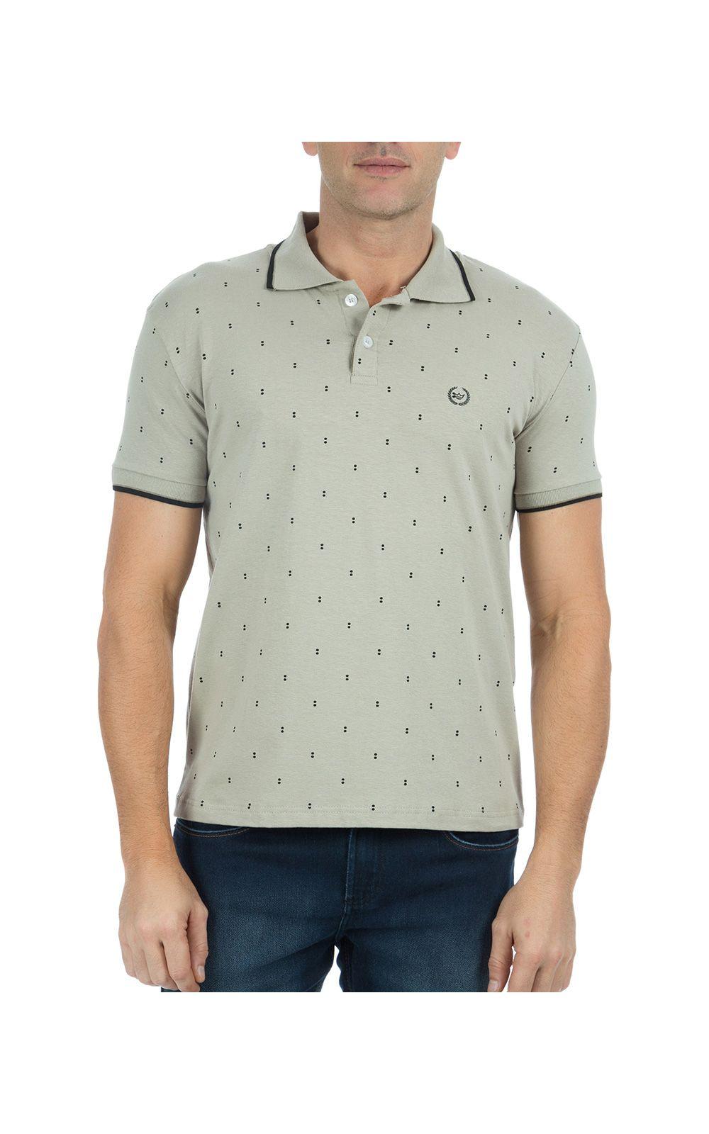 f4e20416f6 Camisa Polo Masculina Cinza Estampada
