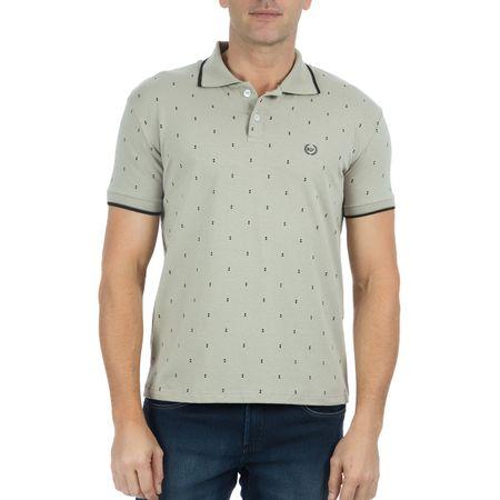 Camisa Polo Masculina Estampada Cinza