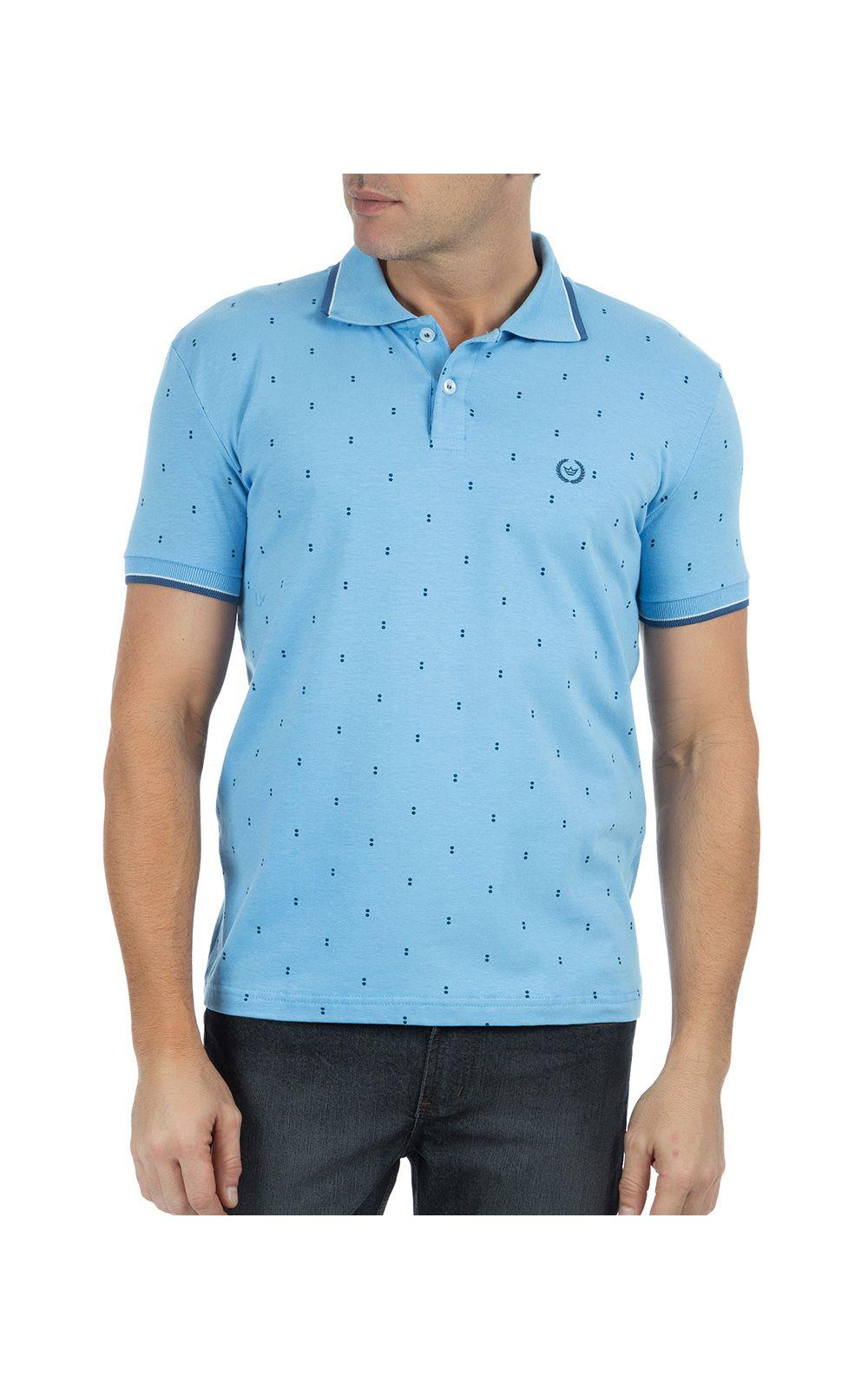 Foto 1 - Camisa Polo Masculina Azul Claro Estampada