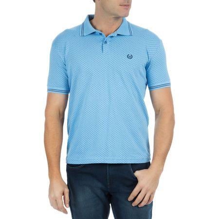 Camisa Polo Masculina Azul Claro Estampada