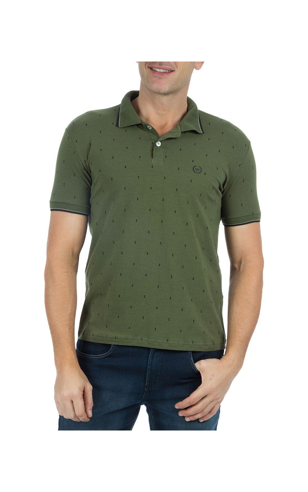 Foto 1 - Camisa Polo Masculina Verde Estampada