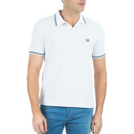 Camisa Polo Masculina Branca Estampada