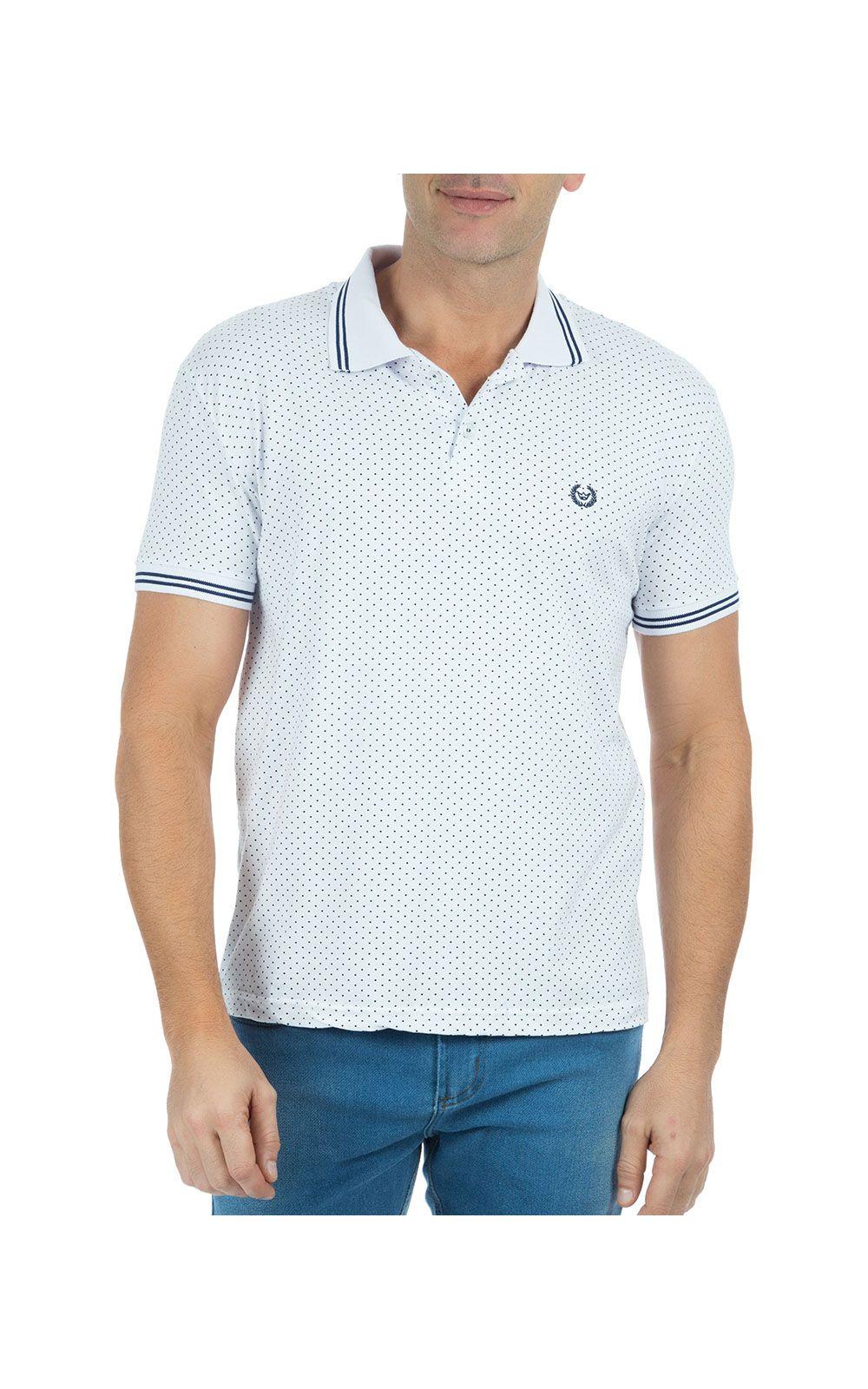 Camisa Polo Masculina Estampada Branca. undefined 4fbec466dcae2