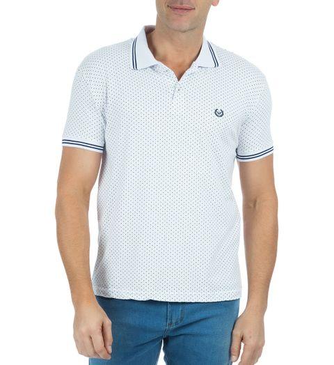 Camisa-Polo-Masculina-Estampada-Branca-