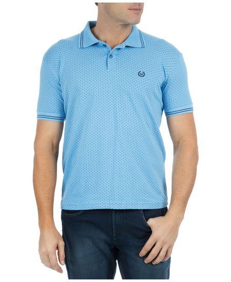 Camisa-Polo-Masculina-Estampada-Azul-Claro-
