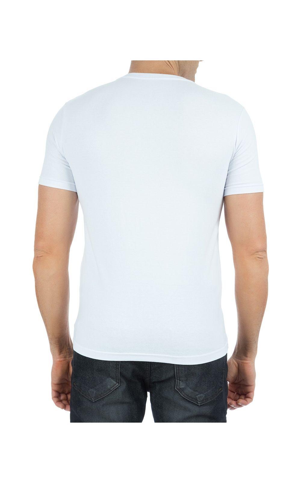 Foto 2 - Camiseta Masculina Branca Lisa