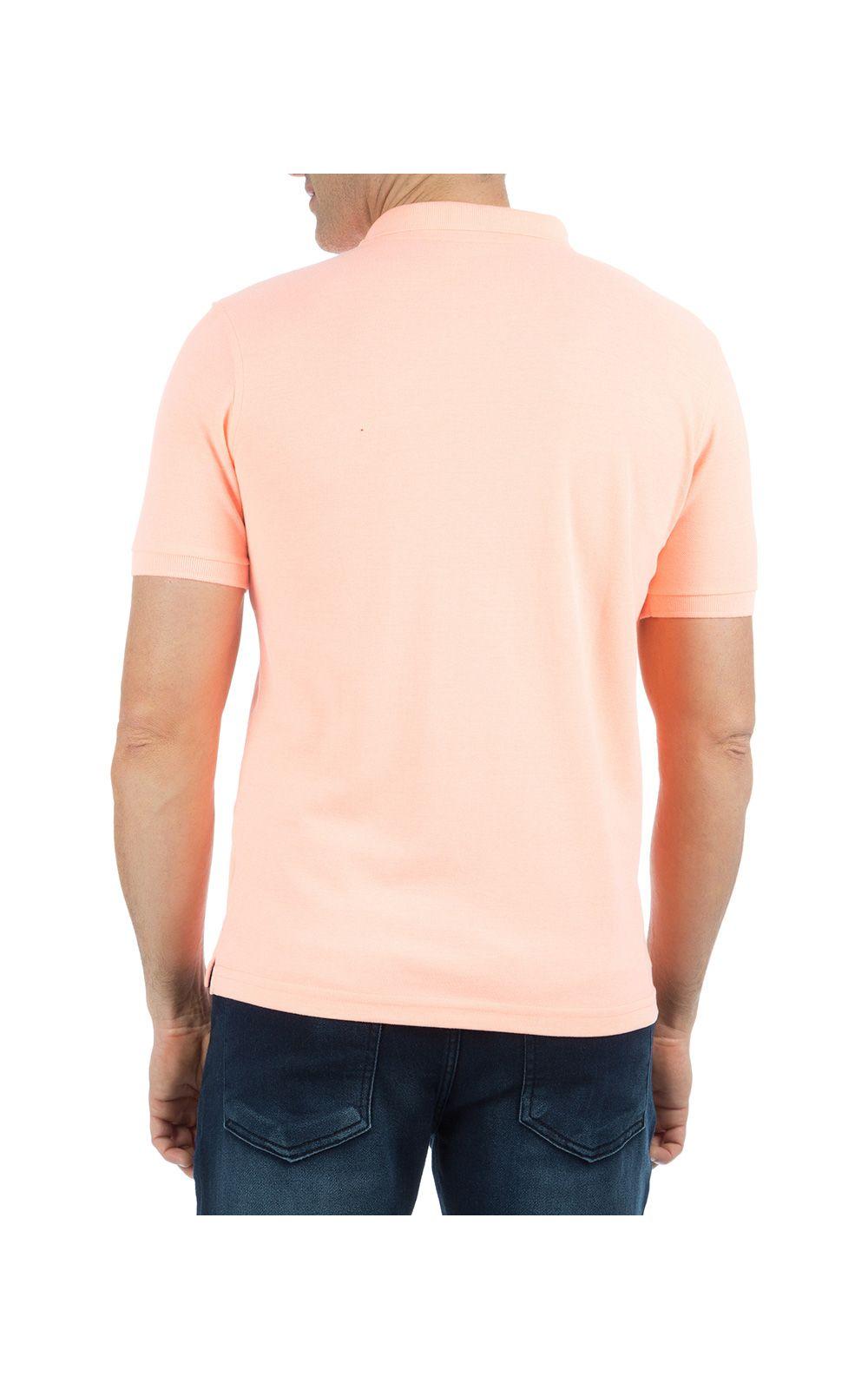 Foto 2 - Camisa Polo Masculina Laranja Lisa