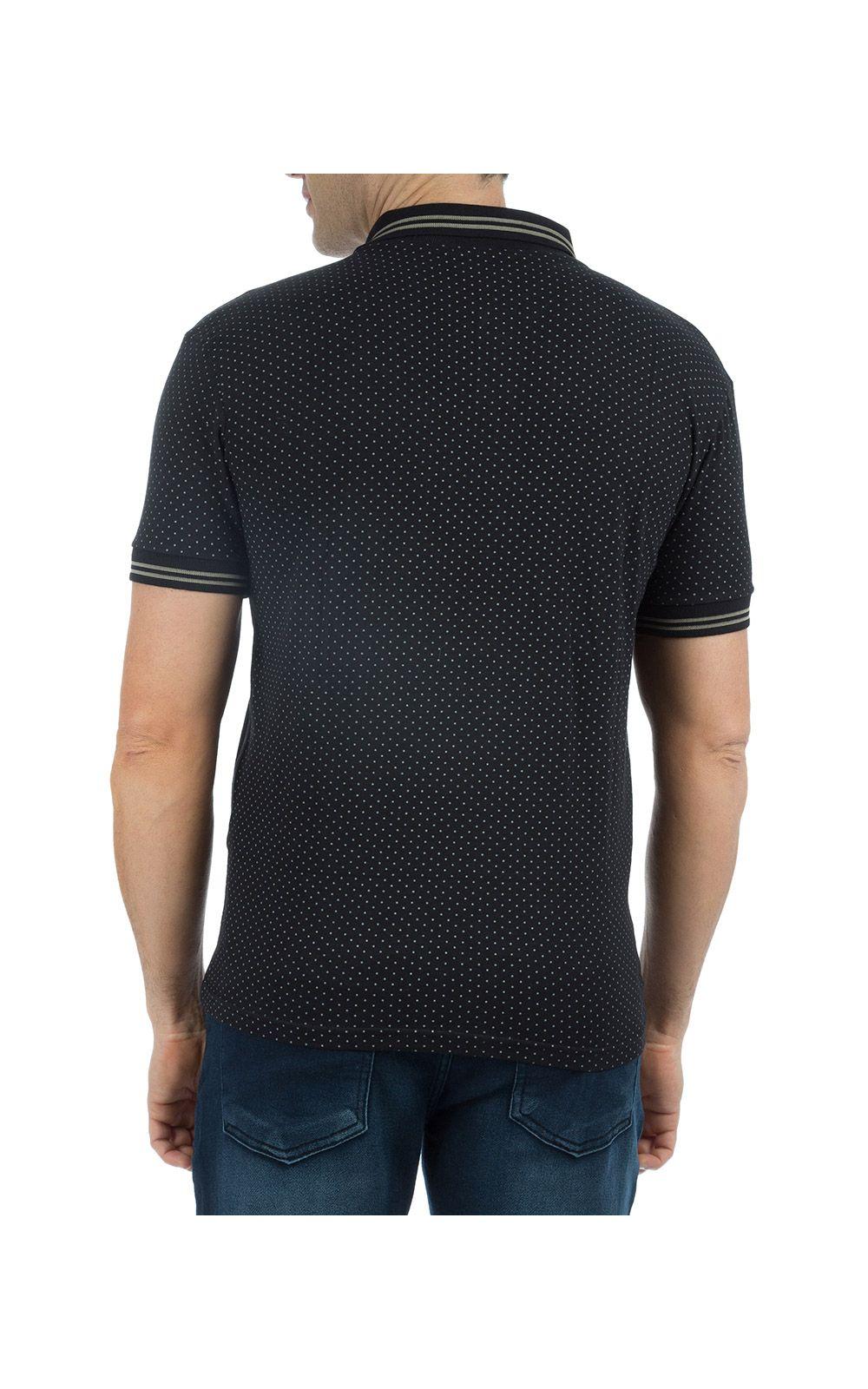 Foto 2 - Camisa Polo Masculina Preta Estampada