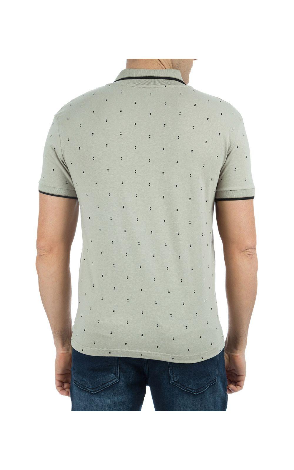 Foto 2 - Camisa Polo Masculina Cinza Estampada