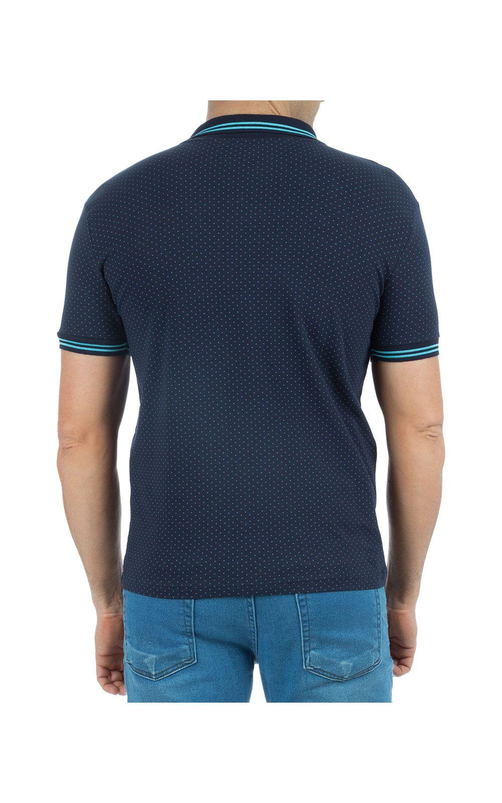 Foto 2 - Camisa Polo Masculina Azul Estampada