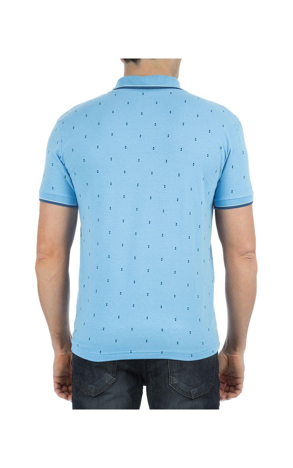 Foto 2 - Camisa Polo Masculina Azul Claro Estampada