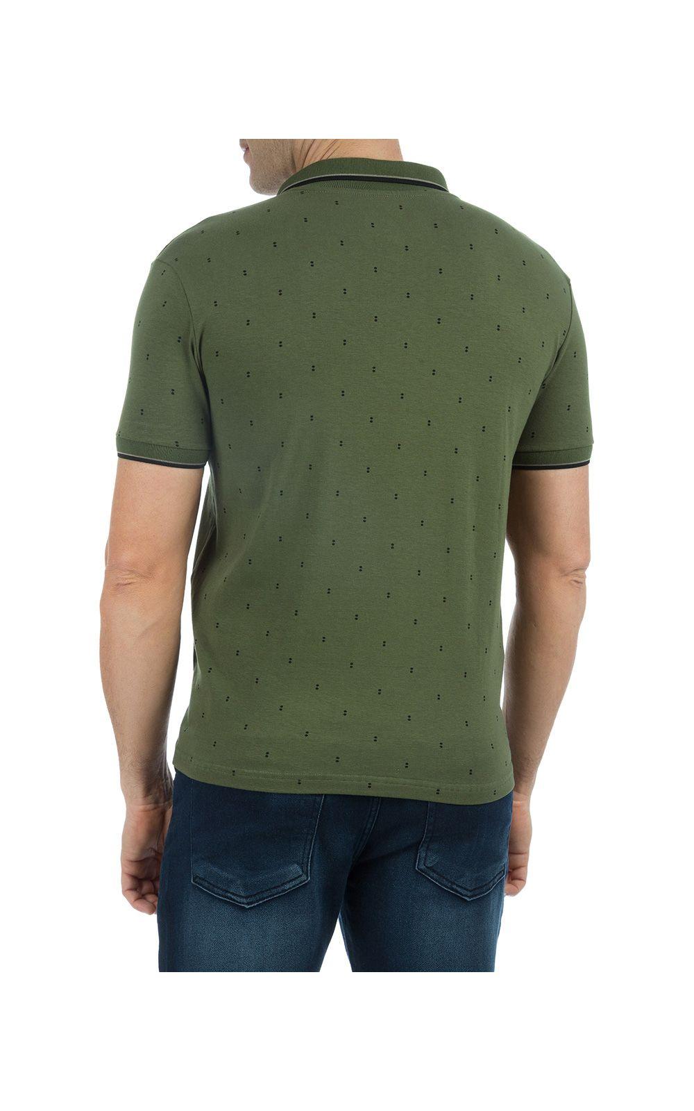 Foto 2 - Camisa Polo Masculina Verde Estampada