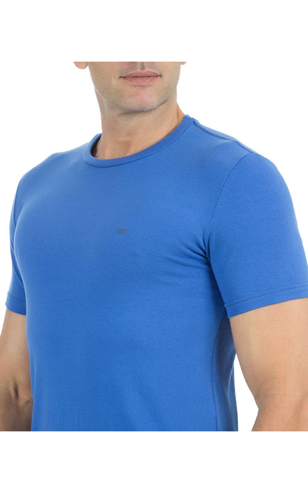Foto 3 - Camiseta Masculina Azul Lisa
