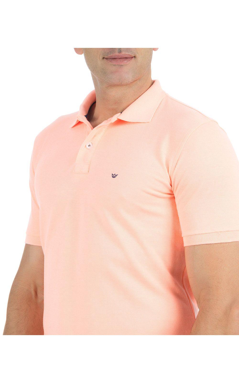 Foto 3 - Camisa Polo Masculina Laranja Lisa