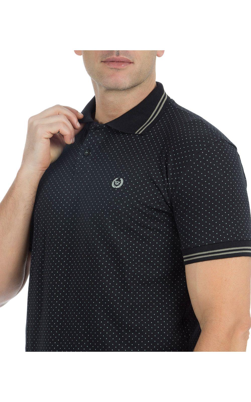 Foto 3 - Camisa Polo Masculina Preta Estampada