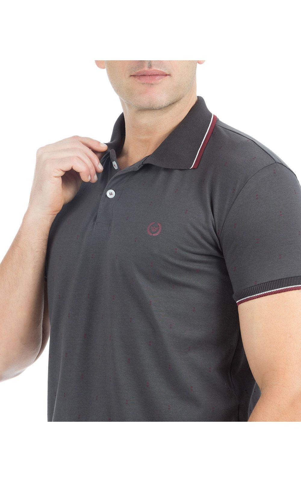 Foto 3 - Camisa Polo Masculina Cinza Escuro Estampada