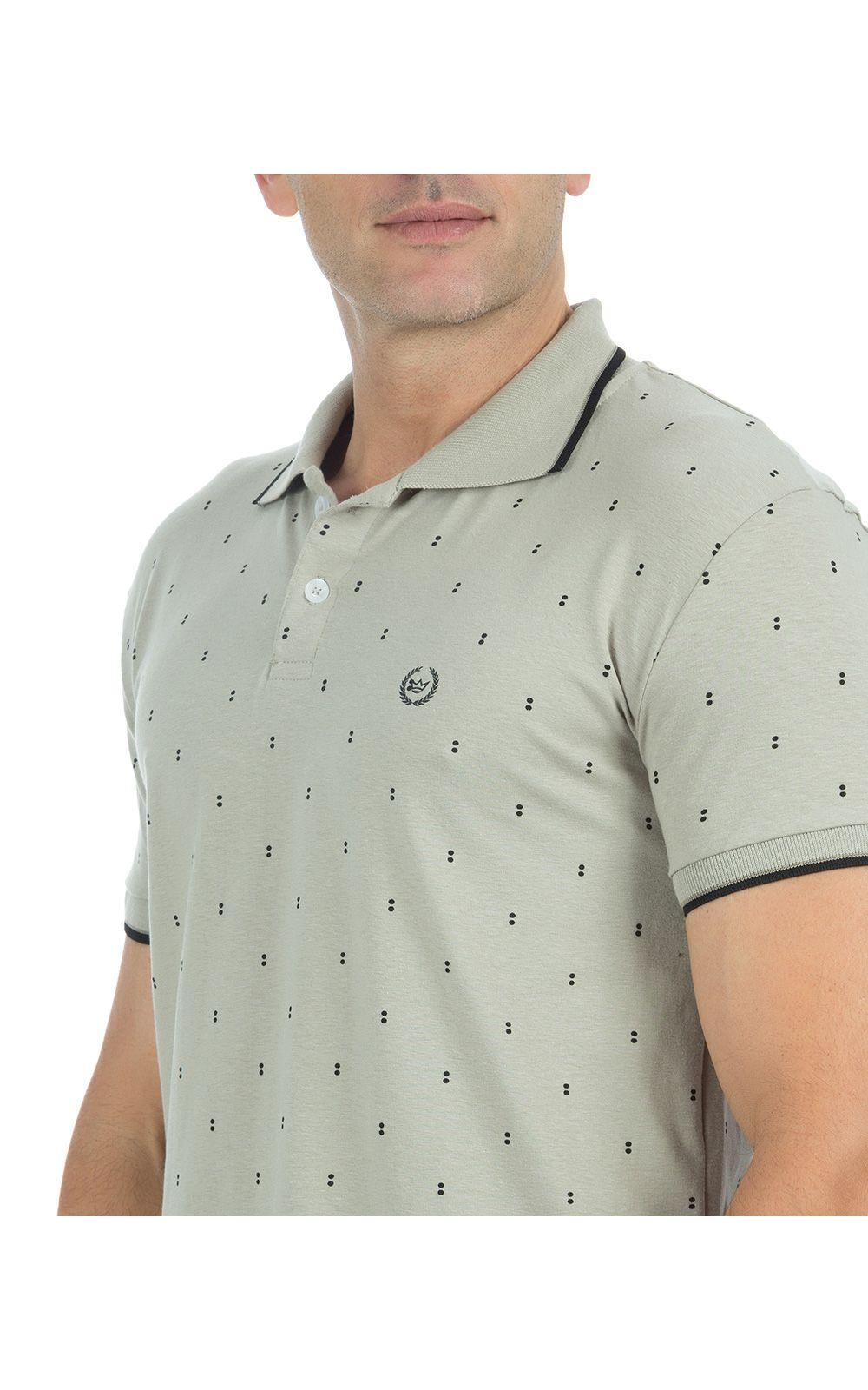 Foto 3 - Camisa Polo Masculina Cinza Estampada