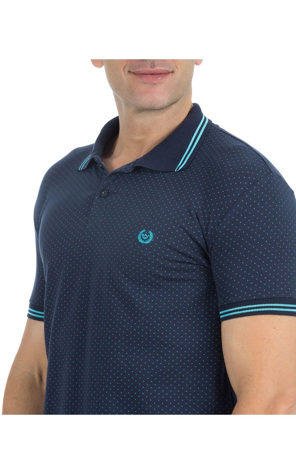 Foto 3 - Camisa Polo Masculina Azul Estampada
