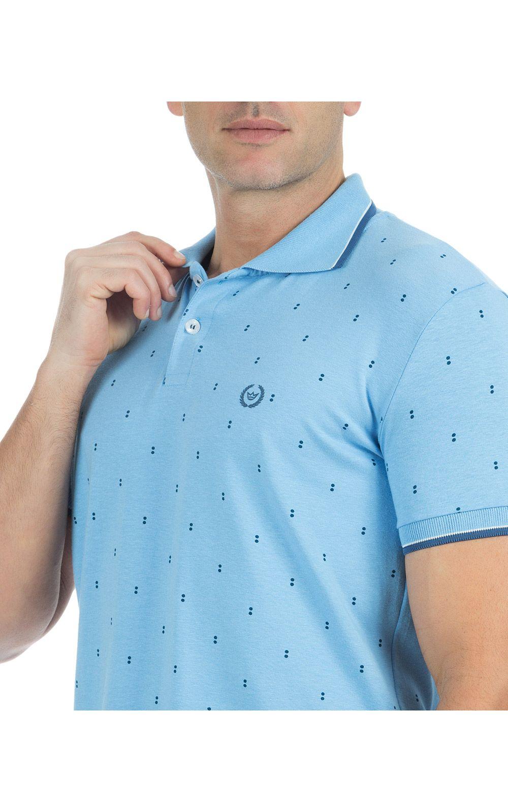 Foto 3 - Camisa Polo Masculina Azul Claro Estampada