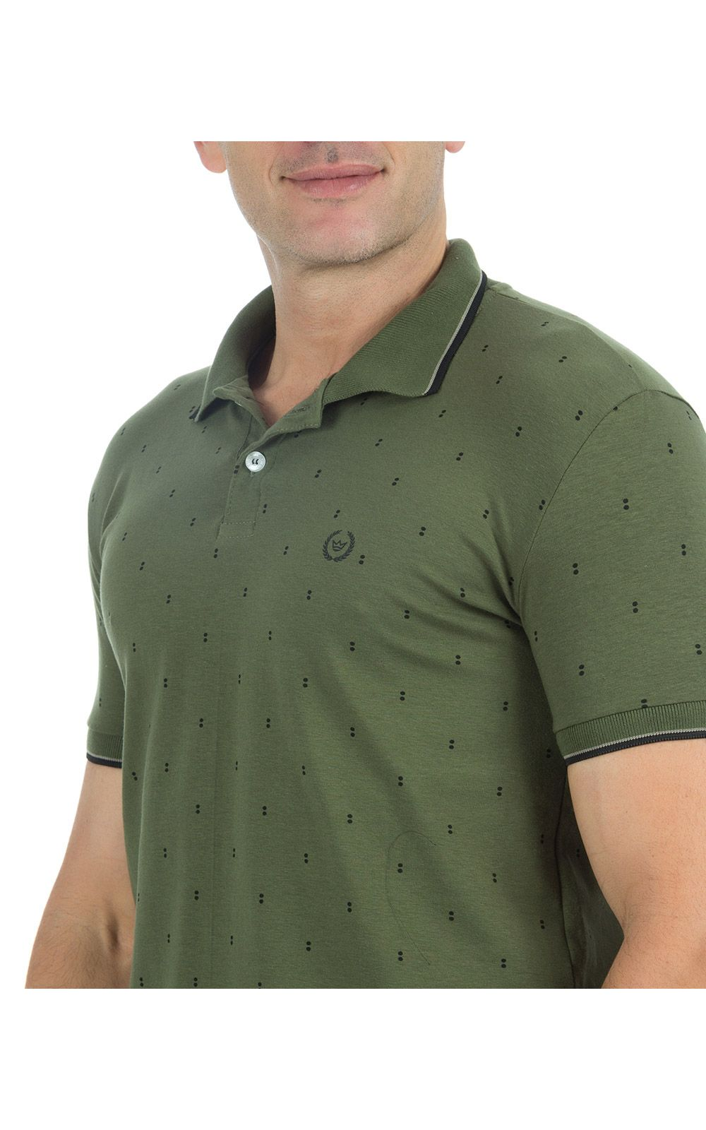 Foto 3 - Camisa Polo Masculina Verde Estampada