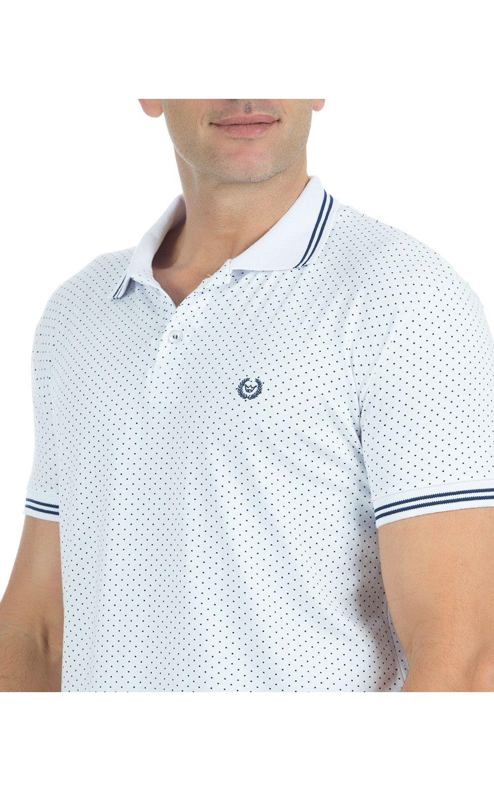 ... Foto 3 - Camisa Polo Masculina Estampada Branca ... 0b55f108bf86c
