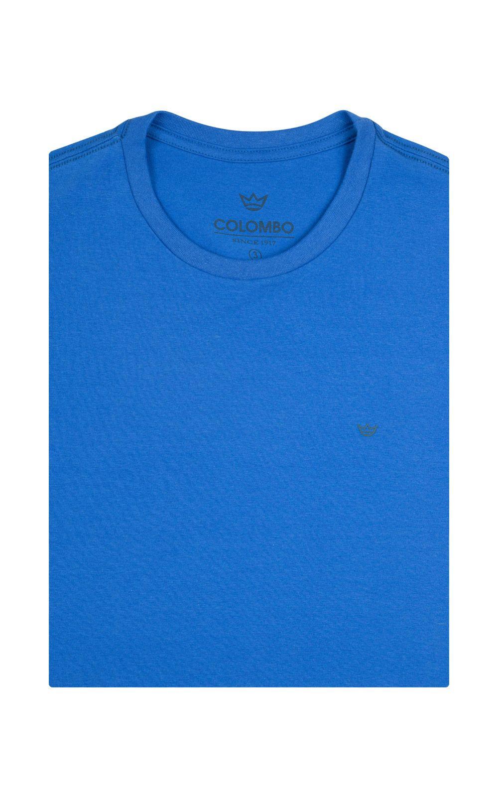 Foto 4 - Camiseta Masculina Azul Lisa