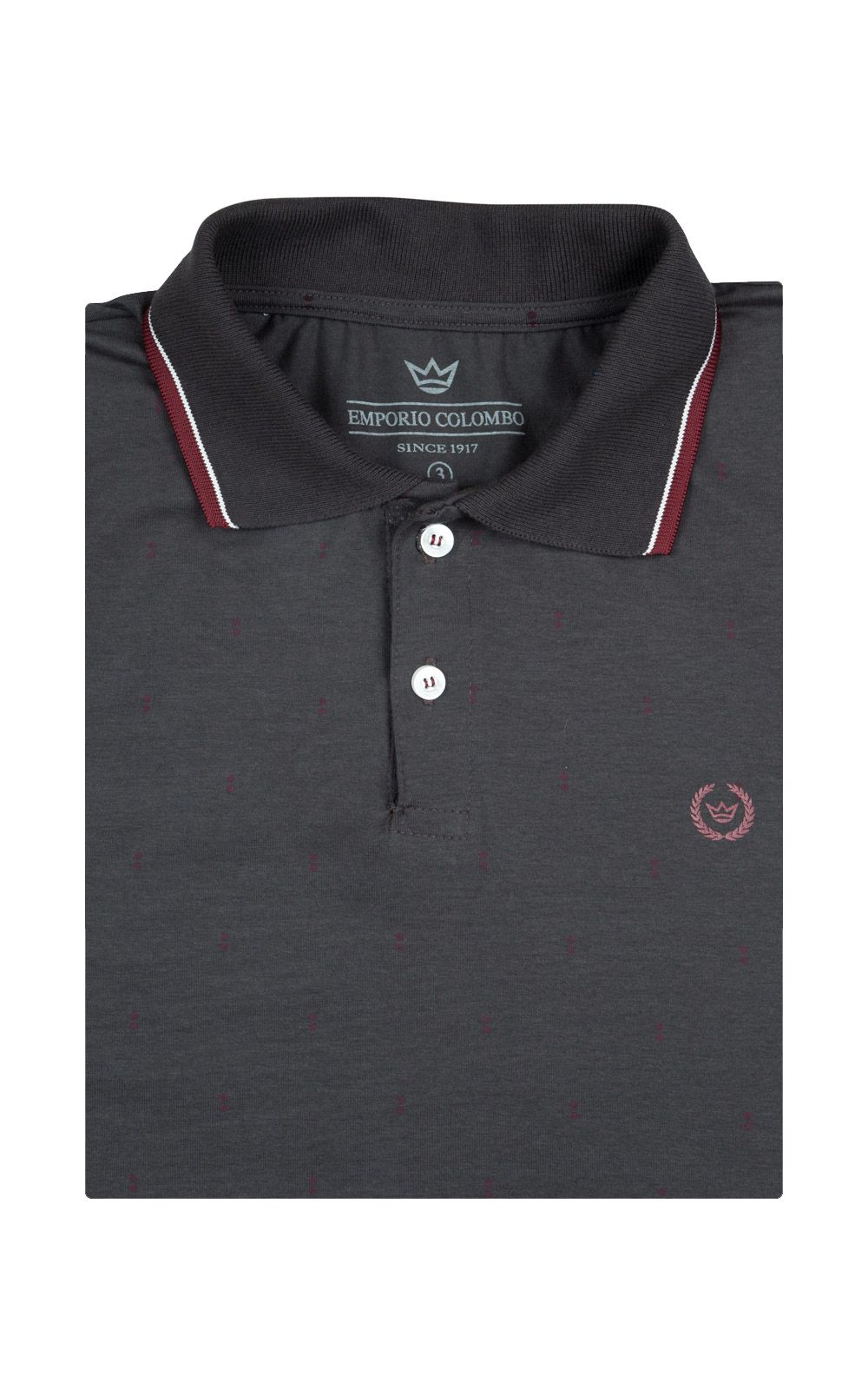 Foto 4 - Camisa Polo Masculina Cinza Escuro Estampada