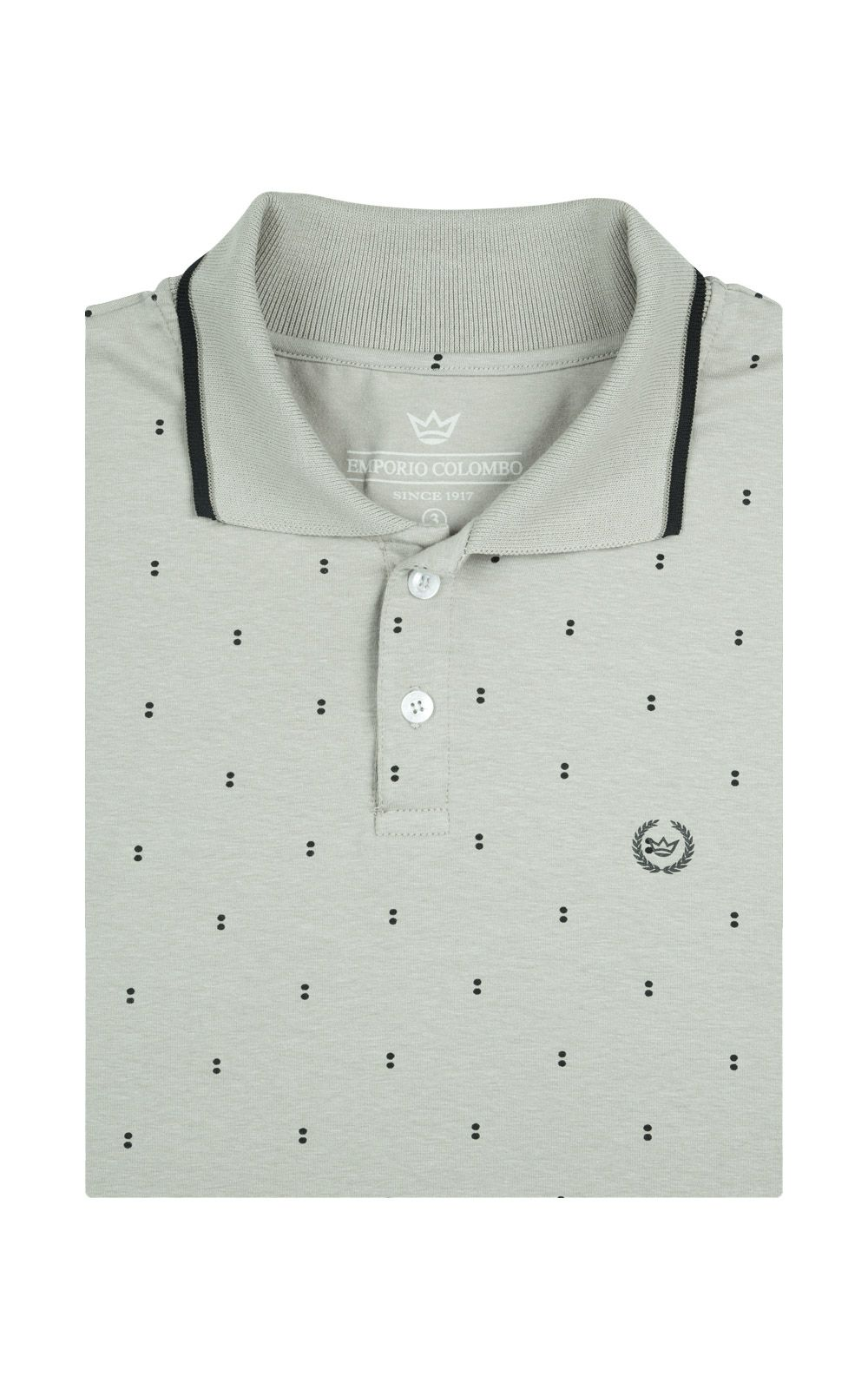Foto 4 - Camisa Polo Masculina Cinza Estampada